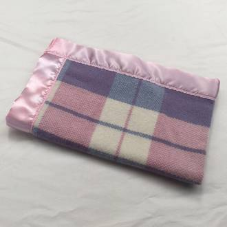 Lamb Wool Buggy Blanket - Pink Plaid