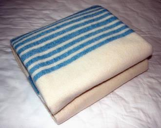Super Fine Pure Wool Throw - Cream with Blue Herribone