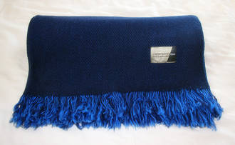 Pure Wool Throw - Navy with tassle