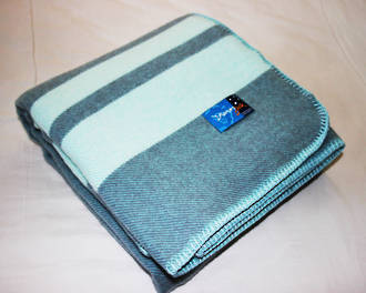 Pewter with Duck Egg Stripe - Blanket Stitch