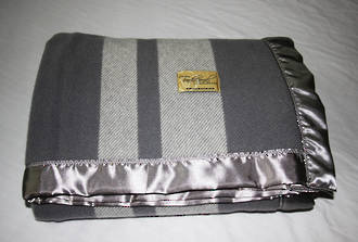 Pure NZ Wool Buggy Blanket - Pewter with Pewter Stripe