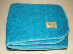 Pure Wool Blanket - Aqua Blue With Blanket Stitch
