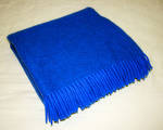 Wool Throw - Navy with fringe