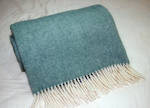 Luxury Herribone Wool Throw - Emerald