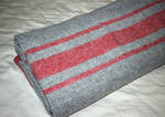 Wool Throw - Grey with Red Stripe