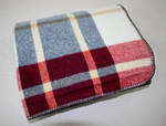 Luxury Lambs Wool Throw - Navy with Red Check