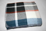 Luxury Lambs Wool Throw - Blue with Pewter Check