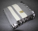 Merino Wool Buggy Blanket - Pewter with Cream Stripe
